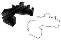Provincias de la provincia de Biskra de Argelia, rep?blica Democratic de la gente del ejemplo del vector del mapa de Argelia, map