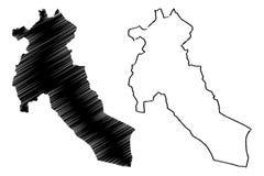 Provincias de la provincia de Djelfa de Argelia, rep?blica Democratic de la gente del ejemplo del vector del mapa de Argelia, map