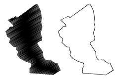 Provincias de la provincia de Illizi de Argelia, rep?blica Democratic de la gente del ejemplo del vector del mapa de Argelia, map