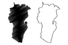 Provincias de la provincia de Khenchela de Argelia, república Democratic de la gente del ejemplo del vector del mapa de Argelia,