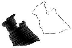 Provincias de la provincia de Laghouat de Argelia, república Democratic de la gente del ejemplo del vector del mapa de Argelia, b