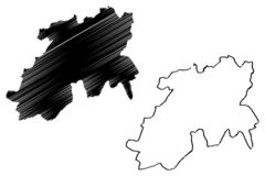 Provincias de la provincia de Medea de Argelia, rep?blica Democratic de la gente del ejemplo del vector del mapa de Argelia, mapa