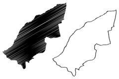 Provincias de la provincia de Mostaganem de Argelia, república Democratic de la gente del ejemplo del vector del mapa de Argelia,