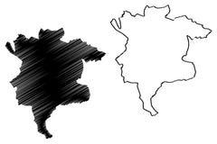 Provincias de la provincia de Msila de Argelia, república Democratic de la gente del ejemplo del vector del mapa de Argelia, bosq