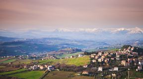 Provincie van Fermo, Italië Landschap Royalty-vrije Stock Foto's
