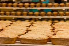 Proving dough of bran in basket. Private Bakery. Royalty Free Stock Photos