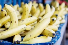 Provision and sale of bananas on a table. Royalty Free Stock Images