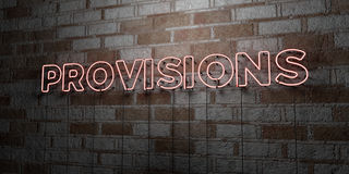 PROVISIONS - Glowing Neon Sign on stonework wall - 3D rendered royalty free stock illustration Stock Images