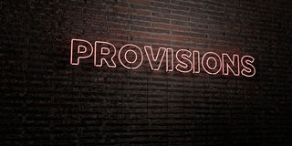 PROVISIONS -Realistic Neon Sign on Brick Wall background - 3D rendered royalty free stock image Stock Photo