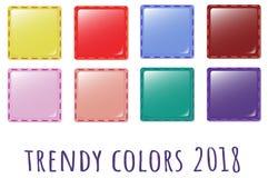 Provkartor av trenden färgar för textilen 2018 - symbolstyg vektor illustrationer