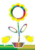 provkartor för blomma för hönafärgeps vektor illustrationer
