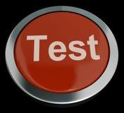 Provknapp i röd visande Quiz Arkivfoto