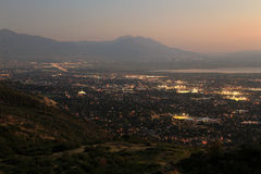 Provo City lights sunset panorama. Stock Image