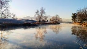Provo flodträsk på Autumn Morning fotografering för bildbyråer