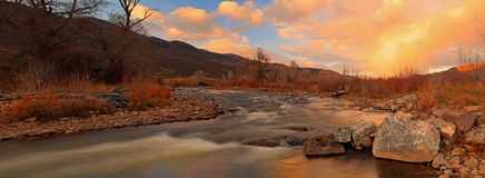 Provo River Panorama With Sunset Sky Stock Images