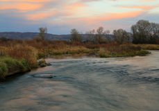 Provo River sunset landscape. Autumn sunset with the provo river in Heber Valley, Utah, USA Stock Photos