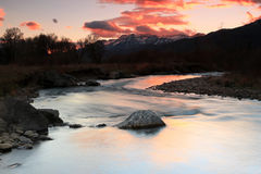 Provo River sunset landscape. Autumn sunset with the provo river in Heber Valley, Utah, USA Stock Photo