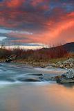 Provo River with sunset sky. Autumn sunset with the provo river in Heber Valley, Utah, USA Royalty Free Stock Photos