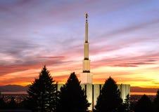Provo Utah tempel på solnedgången Royaltyfri Bild