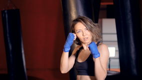 Provocative female Fighter teases, calls for the fight. stock video