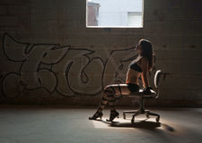 Provocative Woman in Abandoned Building Stock Image