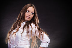 Provocative woman long hair. Royalty Free Stock Images