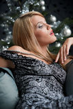 Provocative woman posing in gray dress Royalty Free Stock Images