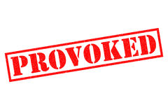 PROVOKED Rubber Stamp. PROVOKED red Rubber Stamp over a white background Stock Image
