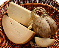 Provolone cheese in a basket royalty free stock image