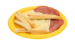 Provolone cheese slices and genoa salami plus breadsticks Stock Photo