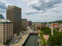 Provvidenza Rhode Island Waterfront dal cielo Immagini Stock Libere da Diritti