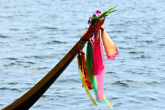 prow of boat with colorful cloth Stock Images
