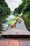 Prow of boat with colorful ribbons Stock Image