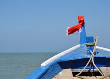 Prow of boat sailing to the sea Stock Photos