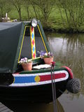 Prow of a Canal Narrowboat. The colorful prow of a traditional English canal narrowboat stock photo
