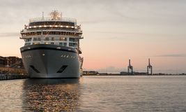 Prow of cruise ship moored in Copenhagen harbour Stock Photography