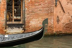Prow of a decorated gondola in Venice Stock Photo