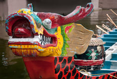 Prow of Dragon Boat. Traditional longboat from Asia used in Dragonboat festival racing Stock Images