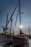 Prow and masts at twilight. Prow and masts in  Point Roberts marina at twilight, Washington state, USA Stock Photography