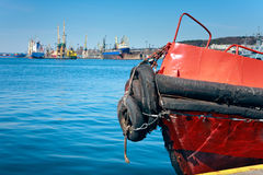 Prow of old pilot ship in harbor Stock Photography
