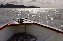 Prow przód łódź w morzu Obraz Royalty Free