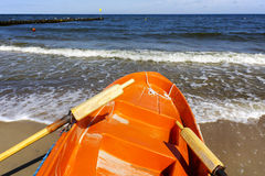 Prow of rescue boat on the sea shore Royalty Free Stock Photography