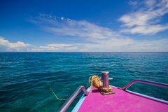 Prow in sea. Green water , Thailand Royalty Free Stock Photo