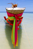 Prow thailand  in  kho tao bay asia isle blue clean Royalty Free Stock Images