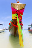 Prow thailand  in  kho tao bay   water    pirogue   and south ch Royalty Free Stock Photography