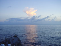 Prow of warship sailing in ocean Stock Photography