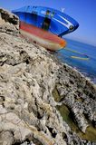 Prow of a wrecked oil tanker. An Oil tanker (named Gelso) lies dangerously inclined on the sicilian east coast near Siracusa after a wreck due to recent bad Stock Photo