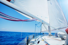 The prow of a yacht and the boom Royalty Free Stock Image