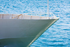 Prow of yacht on sea background Royalty Free Stock Image