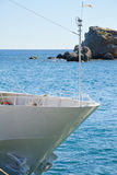 Prow of yacht on sea background Stock Photography